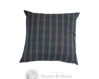 Holiday  Green Navy Plaid  Decorative Throw Pillow Cover Christmas  Pillow , Red Green Plaid, Tartan Pillow Cover , Farmhouse Christmas