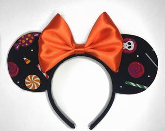 Halloween Minnie Ears - Trick or Treat Ears - Candy Ears - Minnie Mouse Ears - Black and Orange Ears - MNSSHP - Halloween Party Ears