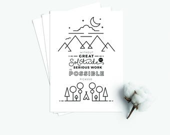 """Postcard  """"Solitude"""" (Set of 3) - white black simplistic modern fresh typography lettering Picasso quote"""