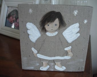 painting Angel made of acrylic paint on raw canvas