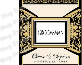 Best Man and Grooms Gift - Regal - Bow Tie - Wine and Liquor Labels - Whiskey Label - Bourbon - Custom Bridal Party Gift Labels - 6 Labels
