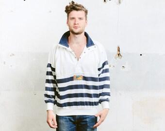 Mens Yachting Sailor Sweatshirt . Vintage 90s Anorak Smock Jacket Striped Sports Sweater Smock 90s Hip Hop Skater . size Large L