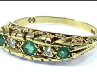 EMERALDS & SAPPHIRES Engagement Ring, Anniversary, 9 K Gold, Size N •5, Weighs 4 Grams, English Hallmarks, Handcrafted, Beautiful Gift