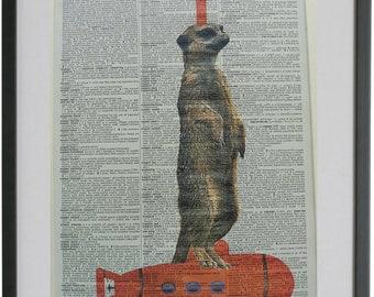 Meerkat Print No.263, meerkat art, meerkat gifts, meerkats, housewarming gifts, submarine, dictionary art, meerkat nursery decor