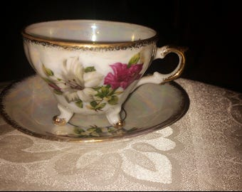 Beautiful porcelain tea cup and saucer