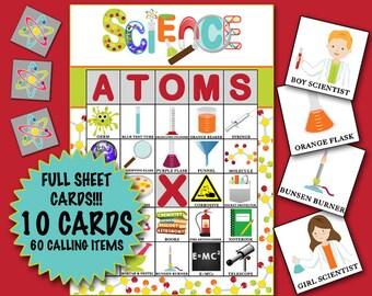 Science Bingo 10 cards INSTANT DOWNLOAD