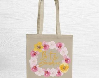 Spring – Tote Bag – Shopping Tote Bag – Canvas Tote Bag – Cotton Bag – Quote Bag – Reusable Bag