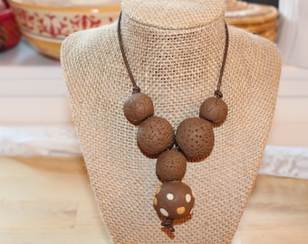 Brown chocolate necklace, Eco Friendly handmade clay beads