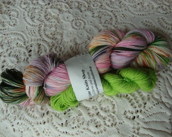 Hand Dyed Yarn with Free Mini Platinum Sock  Tulip Patch