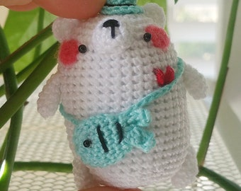 Amigurumi Mini Polar Bear with Fish Bag *Made2Order*