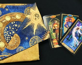 Celestial Steampunk Mechanical Reversible Tarot or Rune Reading Cloth