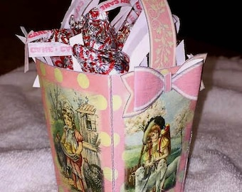 SHaBBy CHiC Easter Basket Favor Box with 3D Bows TeMPLaTE - INSTaNT DOWNLoAD - Charming Vintage Easter Art- Printable JPG Digital File