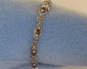 Sterling silver bracelet with garnet and markesites  #567-S