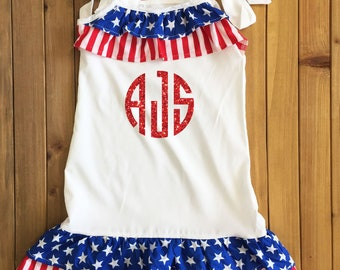 4th of July DRESS with Custom Monogram Patriotic Dress America Dress Girls 4th of July Outfit Girls 4th of July Dress