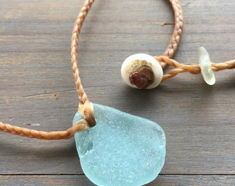 Seafoam seaglass from Kauai mermaid friendly necklace
