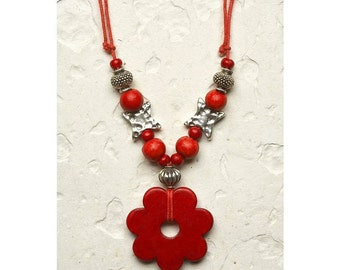 Mom Gift Ceramic Necklace, Silver Beads Adjustable porcelain Necklace modern red Flower boho pendant Mother Day gift love gift for her