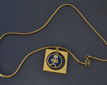 vintage De passille  sylvestre pendant necklace enamel quebec Modernist jewelry MCM
