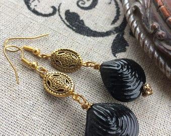 Roman Inspired Glass Shell Earrings
