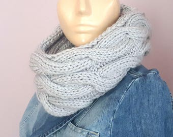 Knit Infinity Scarf_Winter Infinity Scarf_Chunky Knit Cowl Scarf_Neckwarmer Womens Knit_Cable infinity Scarf_Women's Fall Fashion