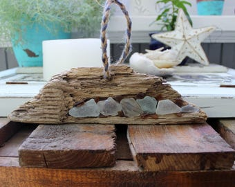 Bohemian Art , Boho Beach Wall Hanging , Driftwood & Seaglass Artwork , Beach house Decoration
