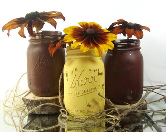 Fall Decor, Thanksgiving Centerpiece, Fall Decorations, Thanksgiving Decor, Rustic Home Decor, Mason Jar Vase, Table Centerpiece
