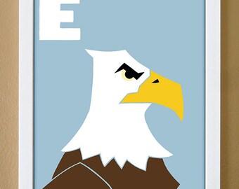 alphabet letter E, eagle, custom colors, bald eagle, children's letter art, letter print, nursery decor, kids initials, 4X6, 5X7, 8X10