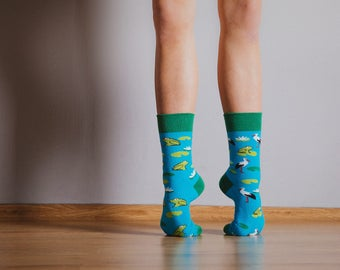 Storks and frogs socks | colorful socks | cool socks | mismatched socks | women socks | men socks | crazy socks | patterned funny socks