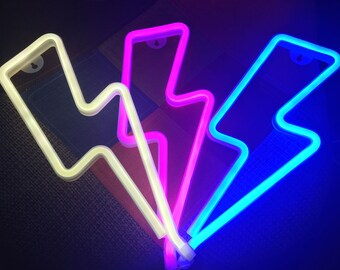 Acrylic Neon Lightning Bolt Light - USB - Pink, Blue, White
