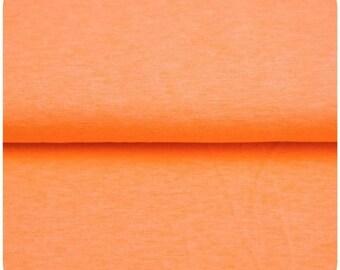 Neon Orange Melange Solid Jersey Fabric - Fluorescent
