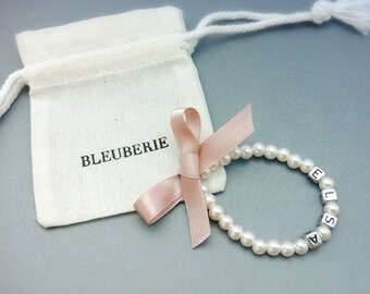 Little Girl Pearl Bracelet with name and satin bow for flower girls, toddler birthday, babies photo prop, birthday girl