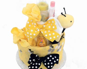 Baby Bee Diaper Cake, Baby Shower Centerpiece and Gift