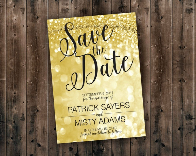 Save the Date Cards Printed, Gold and Black Wedding Save the Date, Cheap, Affordable, Sparkly, Elegant, Postcard, Wedding Invitations