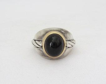 Vintage BEZEL Sterling Silver 14K Black Onyx Men's Ring Size 9