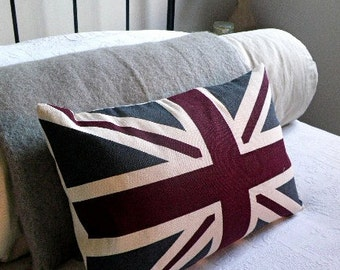 Hand printed New heritage union jack cushion cover.