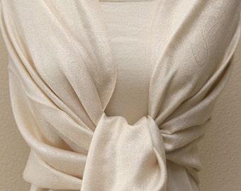 Wedding party favors, monogrammed ivory light beige paisley pashmina bridal shawl, scarf, wrap, bridesmaids gift