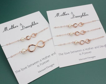 JUNE Special Sale 20% off, Mother-Daughter Infinity Bracelet Set, Wedding Mother-of-the-Bride Gift, Rose Gold Pearl Birthday Bracelet Set