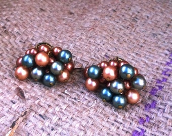 Vintage Multi-color Earth Tones Cluster Earrings - Clip On