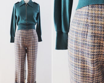 1960s pants medium - vintage wool plaid pants - 28 inch waist - trousers - cropped flared -