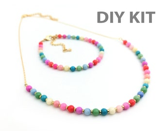 DIY Jewelry Kit, Simple Necklace Bracelet Set, Colorful Necklace, DIY Gift, Necklace kit, Bracelet Kit, Jade Bead, Beaded Necklace, SP001