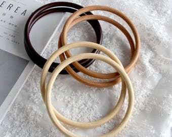 One Pair / Two PCS, Wooden Circle Bag Purse Handle, 15cm Diameter Available