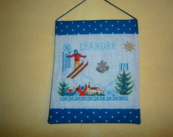 "Embroidered cross stitch banner ""skier grass"""