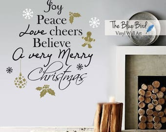 Merry Christmas Decal Christmas Decor, Christmas Wall Decal, Wall Art Holiday Decal Christmas Decoration, Santa Wall Decal