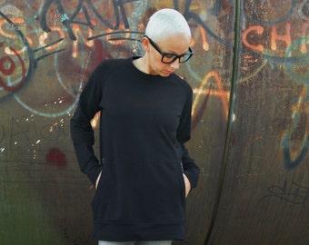 Tunic sweatshirt in organic cotton for women, long sweatshirts,tunic dress, organic cotton clothing,eco friendly