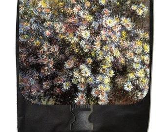 Artist Claude Monet's Asters - Large Black School Backpack