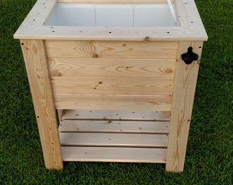 Unfinished Wood Cooler Stand with shelf