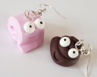 Earrings polymer clay, the POO and her pink toilet paper, depareillees rigolottes, polymer clay dangle earrings