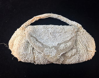 Vintage Small Beaded Purse 5 1/2 by 3 Inches NEEDS REPAIR  Snap Front     01971