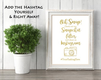 Customizable Gold Sparkle Paper Snapchat Filter Sign- Wedding Sign- with Hashtag (8x10 size option)