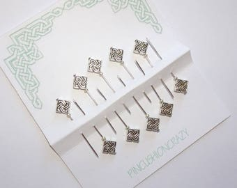 Celtic Knot Sewing Pins -  Decorative Scrapbooking Pins - Embellishment Pins - Sewing Pins - Beaded Straight Pins - Silvertone - Map Pins
