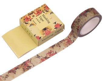 Autumn Flowers Washi Tape / A Colourful Floral Tape with Shades of Autumn
